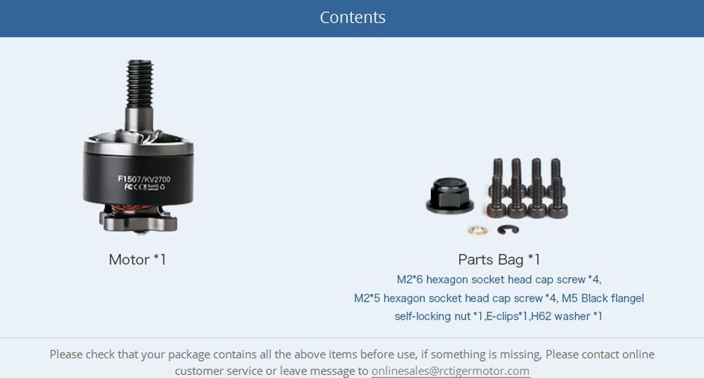T-Motor F1507 3800KV Motor parts list