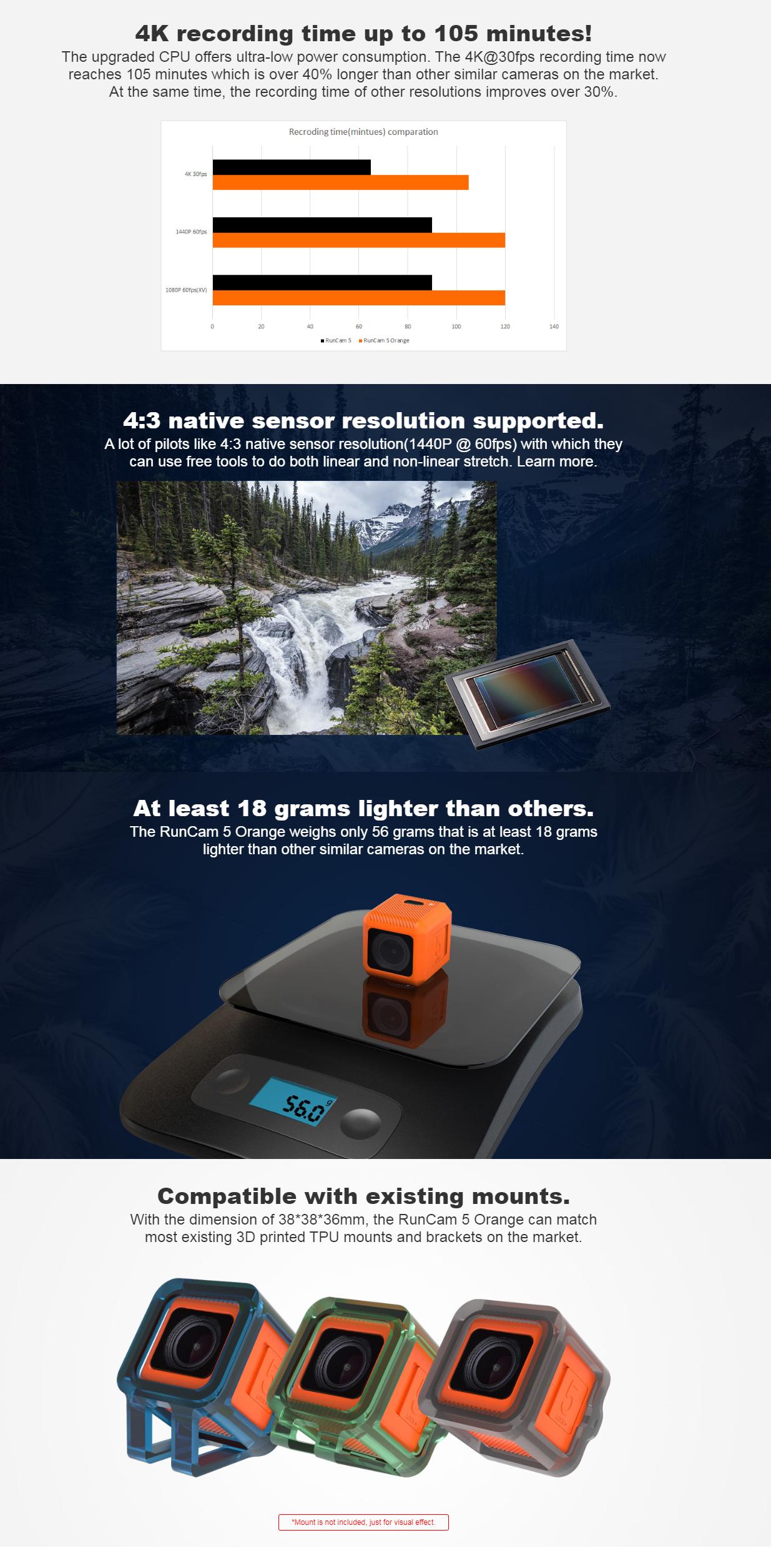 specs of the Runcam 5 orange camera