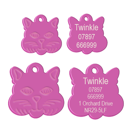 Cat Face Pet Tag Pink