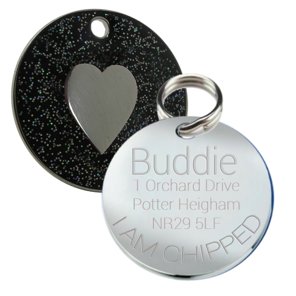 Chrome Plated Metal Small Pet Id Dog Cat Tag Zodiac: Black Glitter Pet Id Dog Name Tag 25 Mm Round With Heart Motif