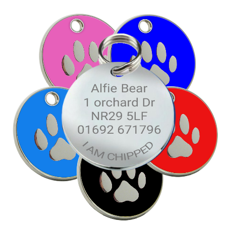 Dog id Pet Name Tags Enamel with Paw Print Motif