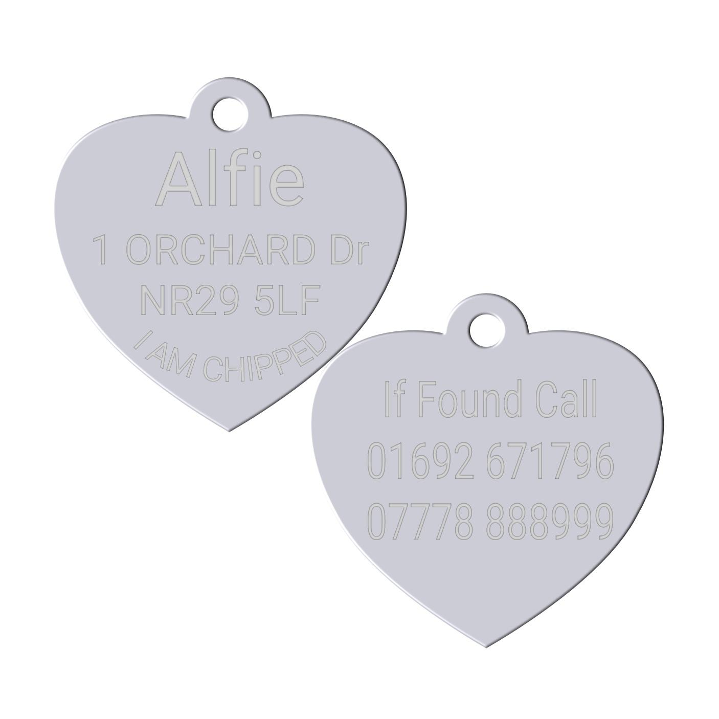 silver heart pet id dog tag
