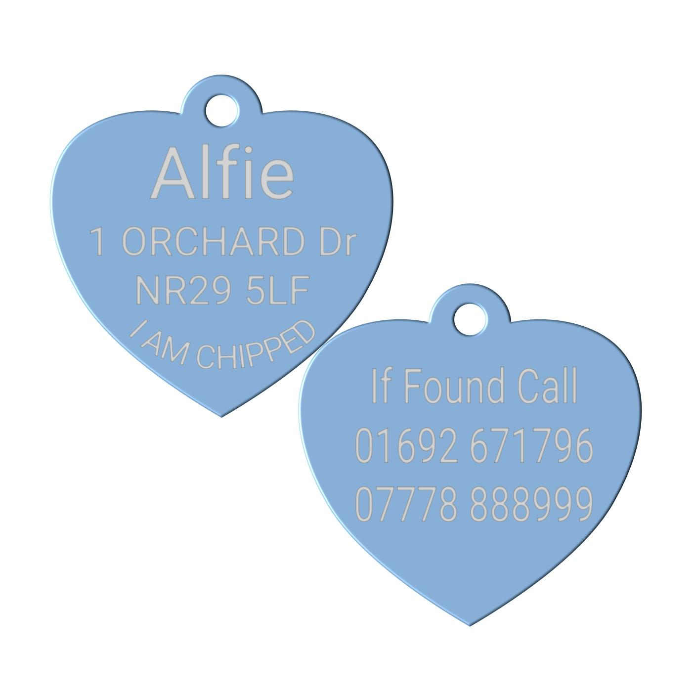light blue pet id dog tag