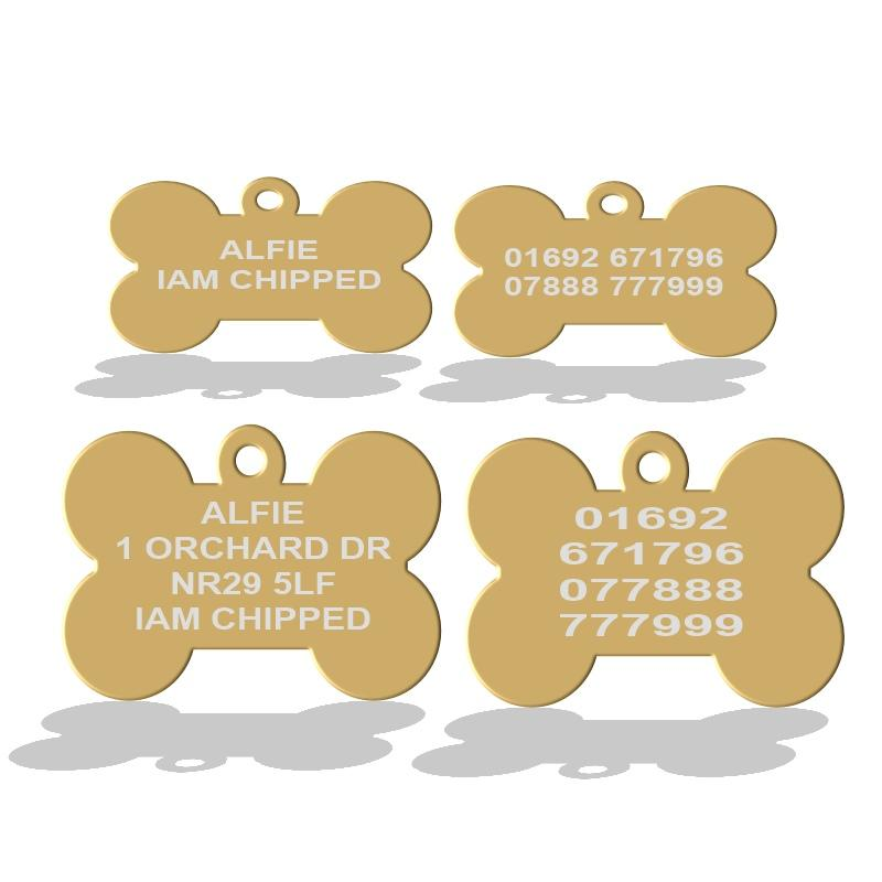 Gold Bone Shape Pet Id Tags For Dogs