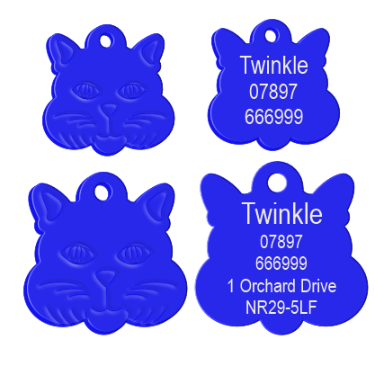 Cat Face Pet Tag Blue