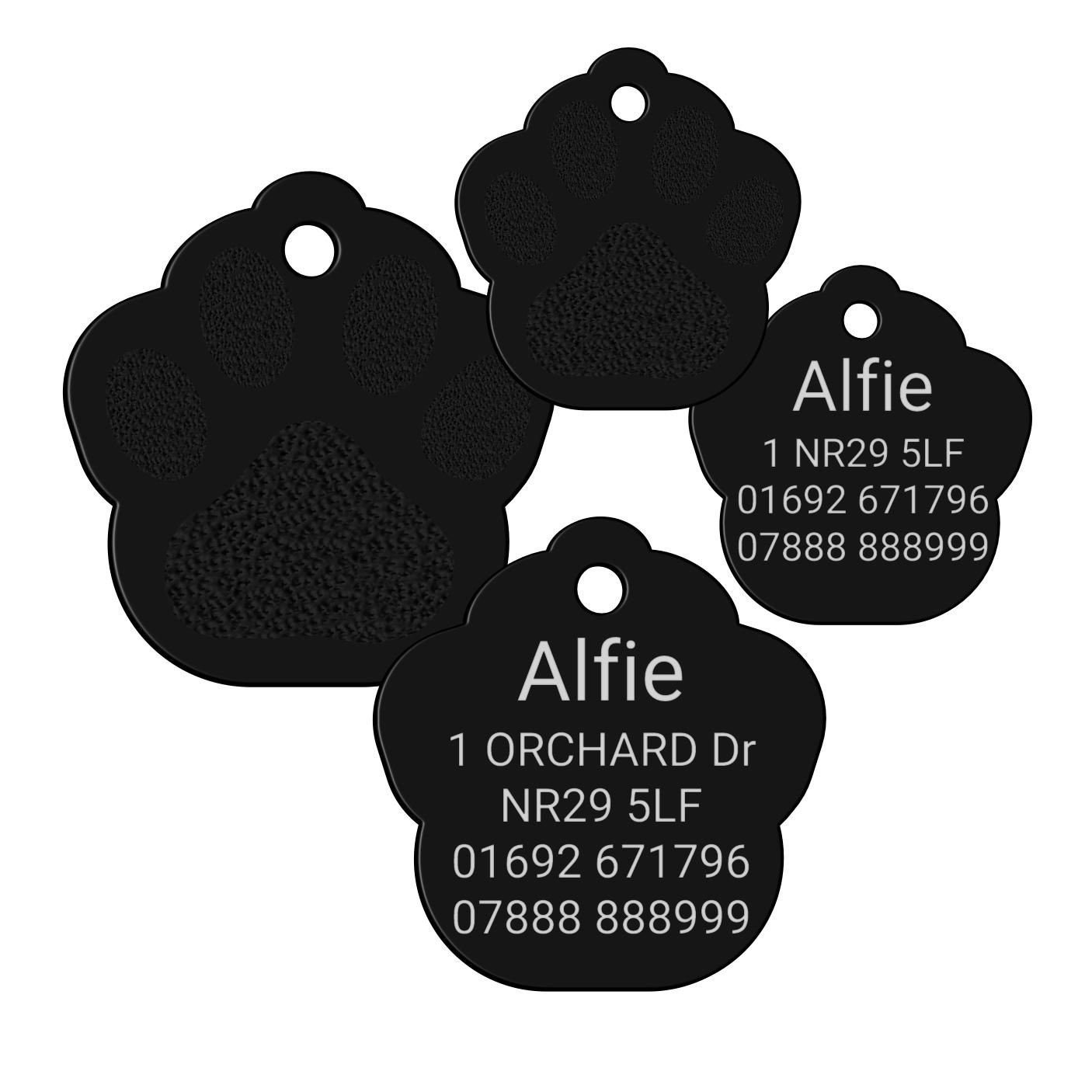 black paw print pet id dog tag