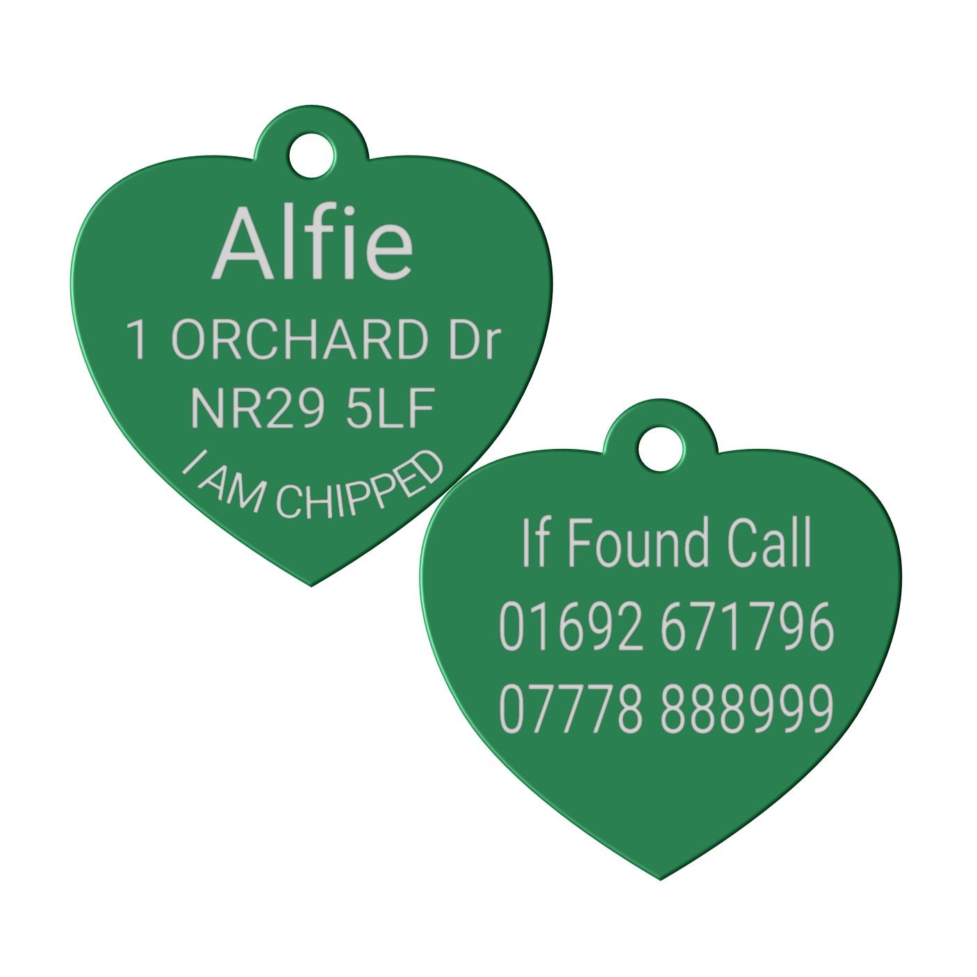 green heart pet id dog tag