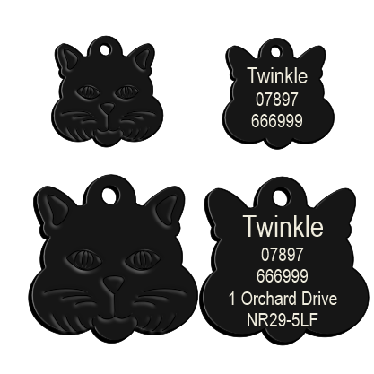 Cat Face Pet Tag Black