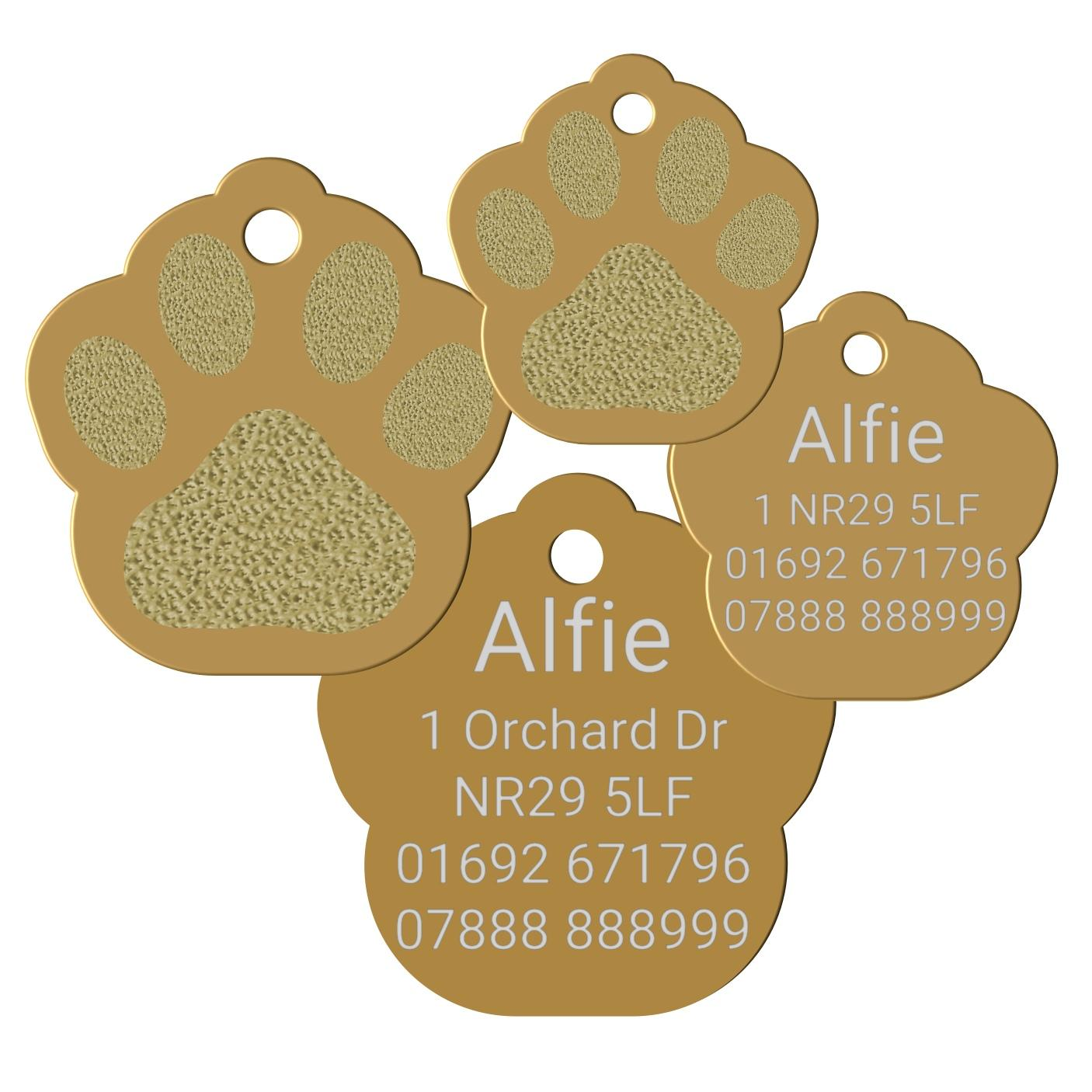 gold paw print pet tag