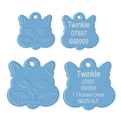 Cat Face Pet Tag Light Blue