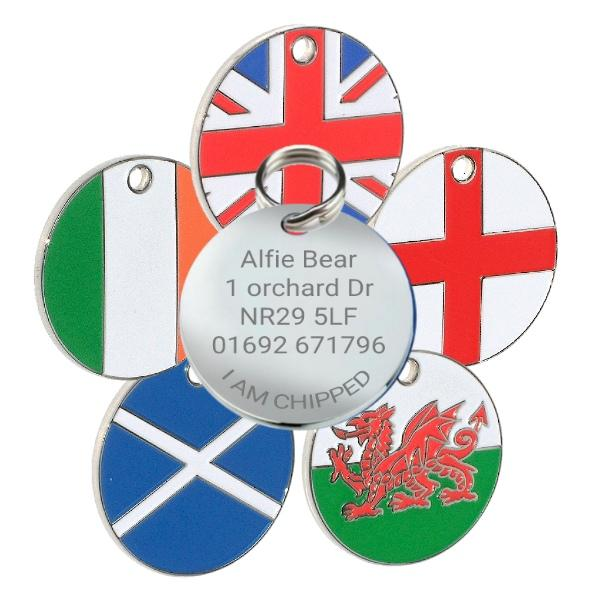 Flag Pet id Tags Round Shape