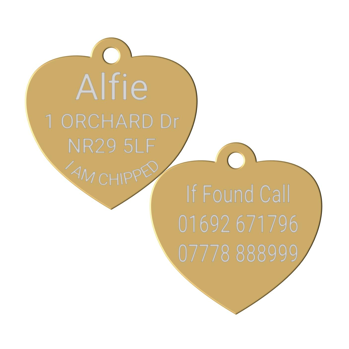 gold heart pet id dog tag