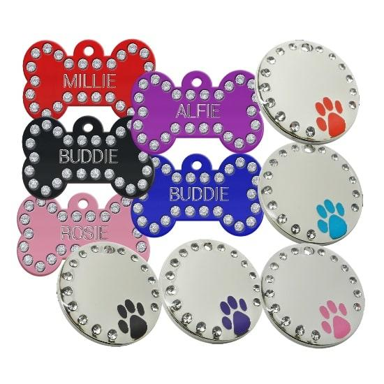 Bling Pet id Tags with Swarovski Crystal for Dogs