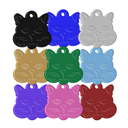 Cat id Pet Name Tags Aluminium Cat Face - Premium