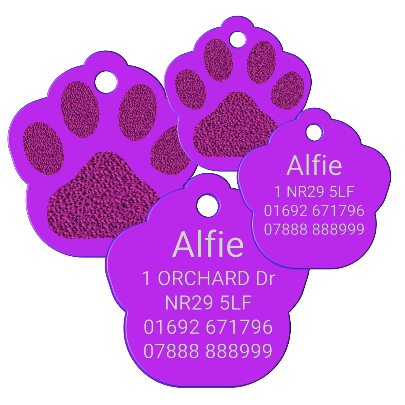purple pet tag paw print