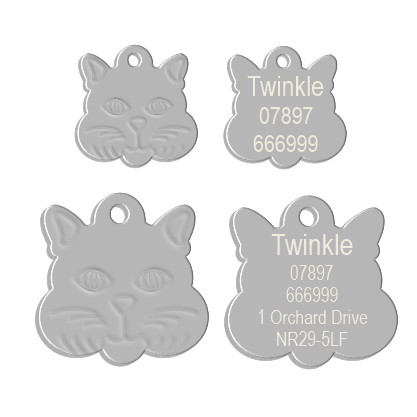 Cat Face Pet Tag Silver