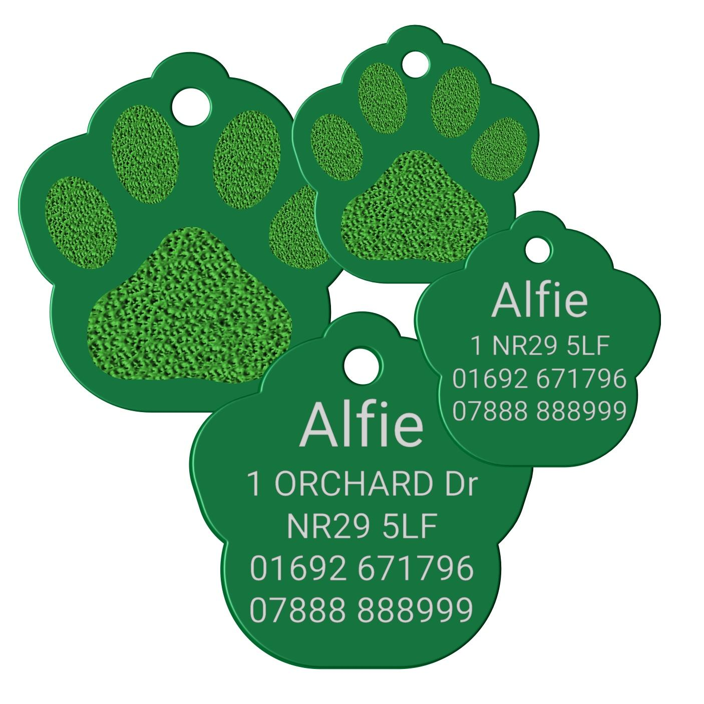 green pet tag paw print