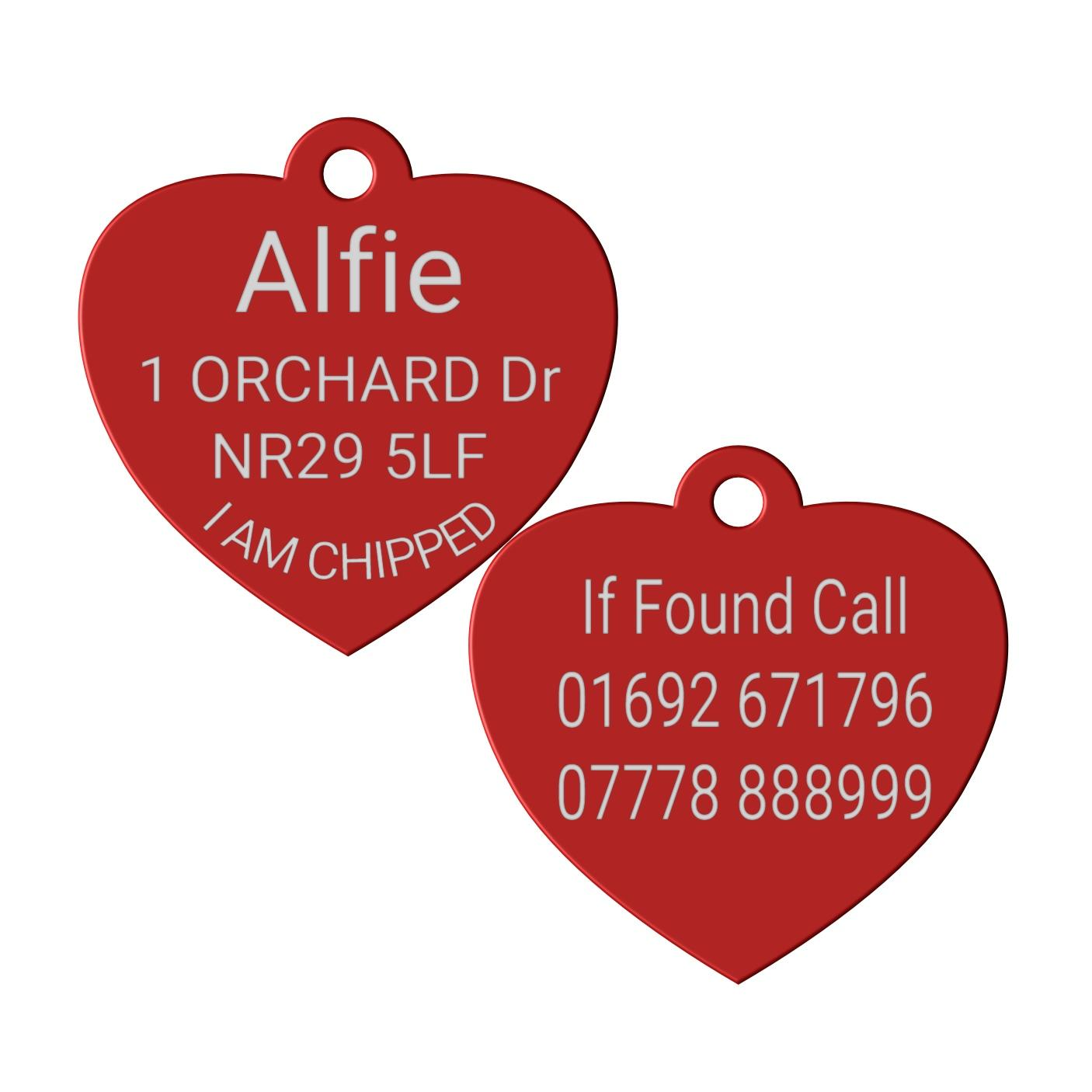red heart pet id dog tag