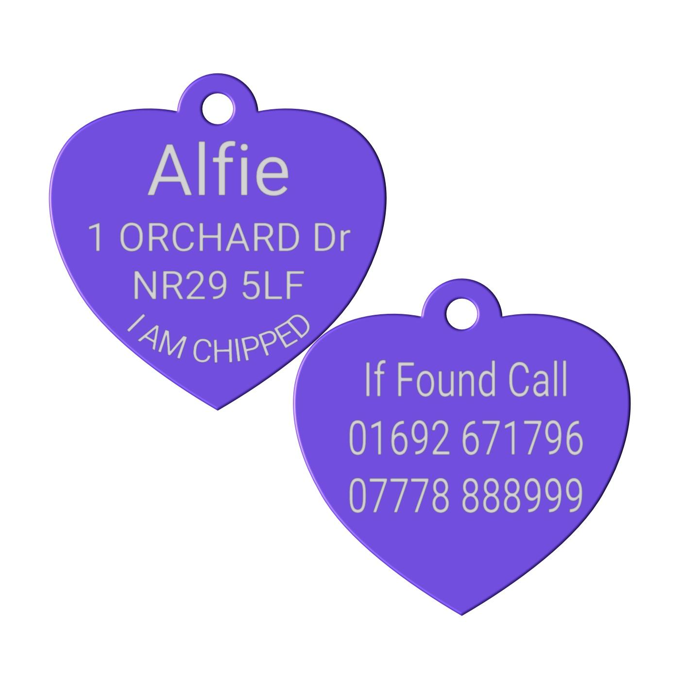 purple heart pet id dog tag