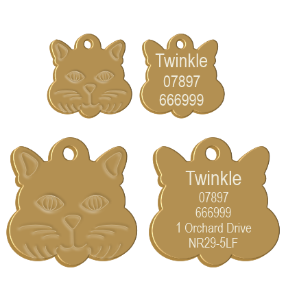 Cat Face Pet Tag Gold