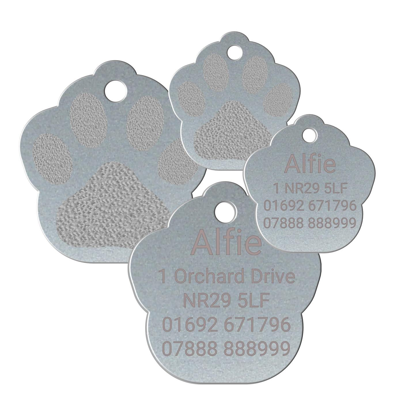 silver paw print pet tags
