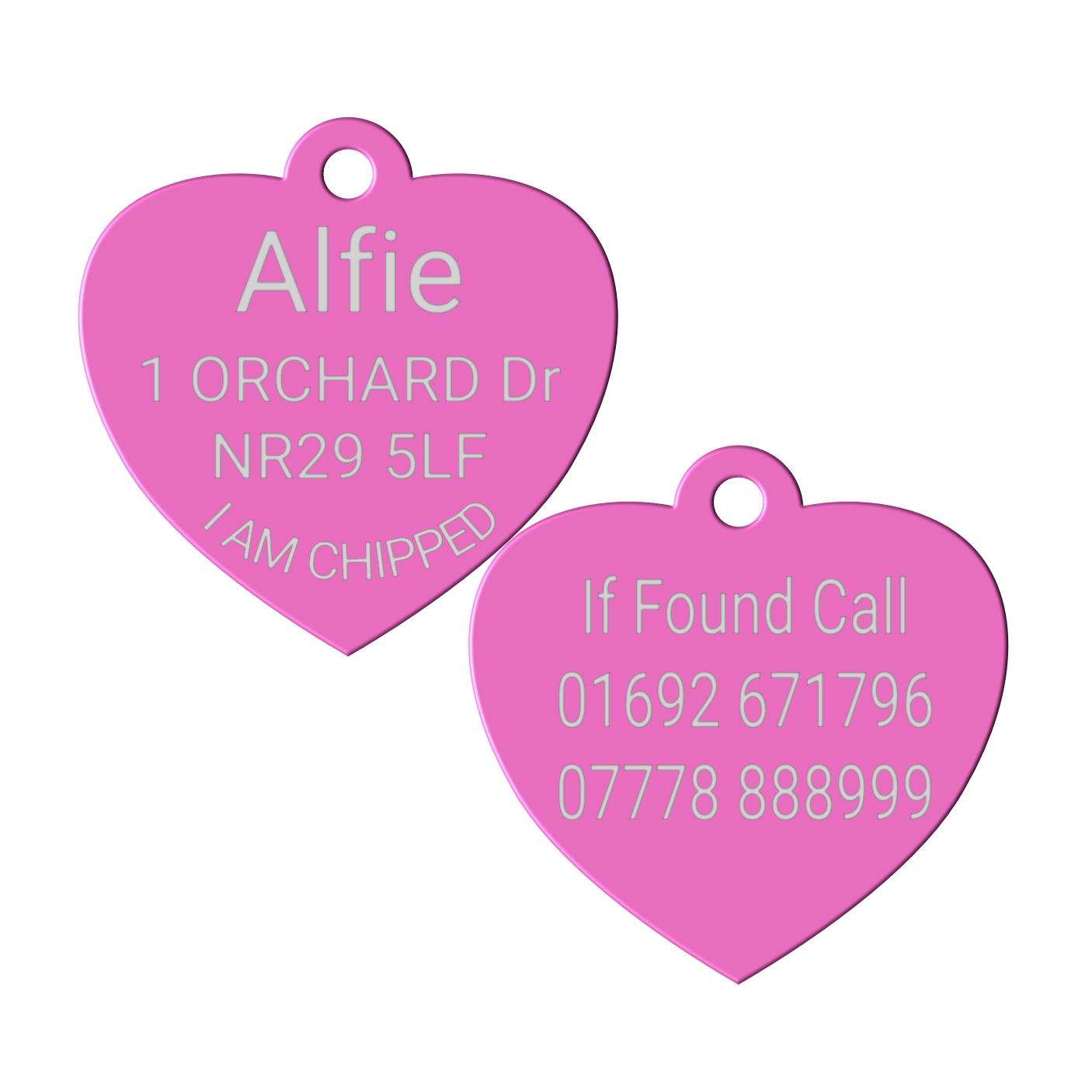 pink heart pet id dog tag