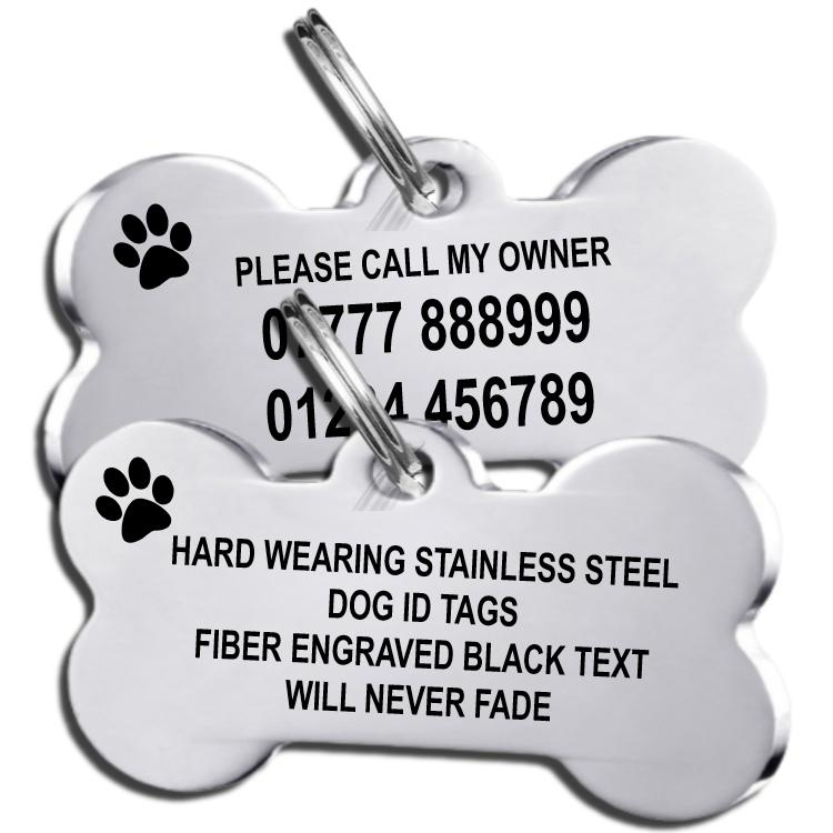 Stainless Steel Bone Shape Dog id Tag