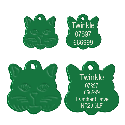 Cat Face Pet Tag Green