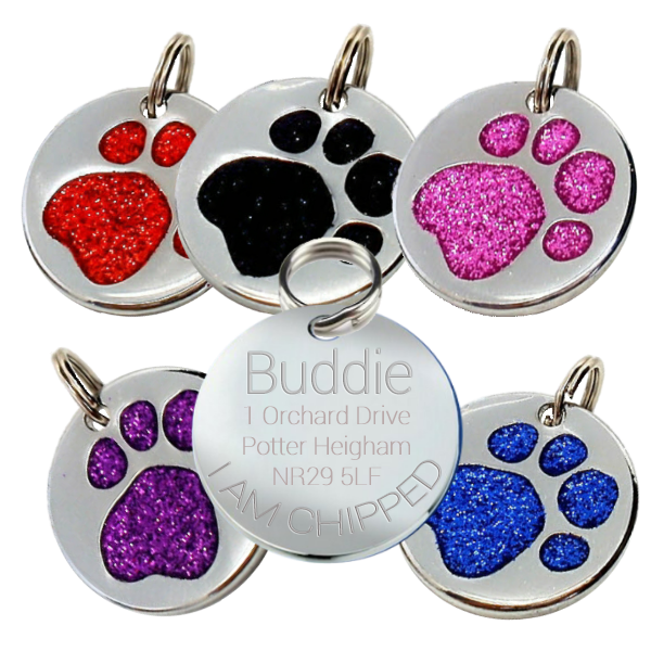 Glitter Pet id Tags for Dogs Round Paws 24 mm