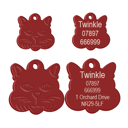 Cat Face Pet Tag Red