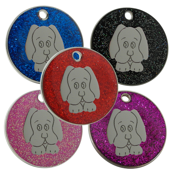 Glitter Pet Id Dog Tags with Dog Face motif
