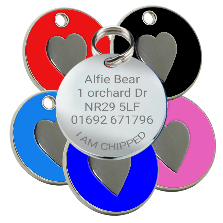 Dog id Pet Name Tags Enamel with Heart Motif