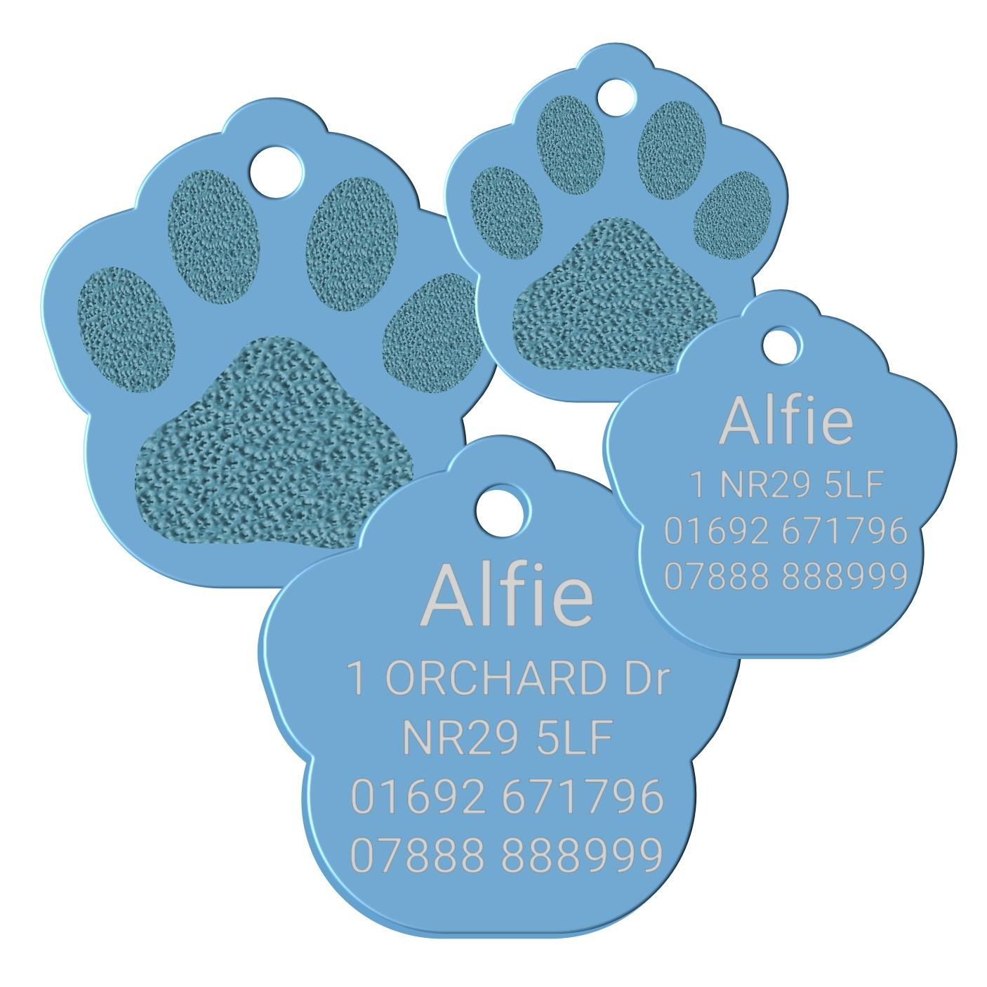 light blue paw print dog id pet tag