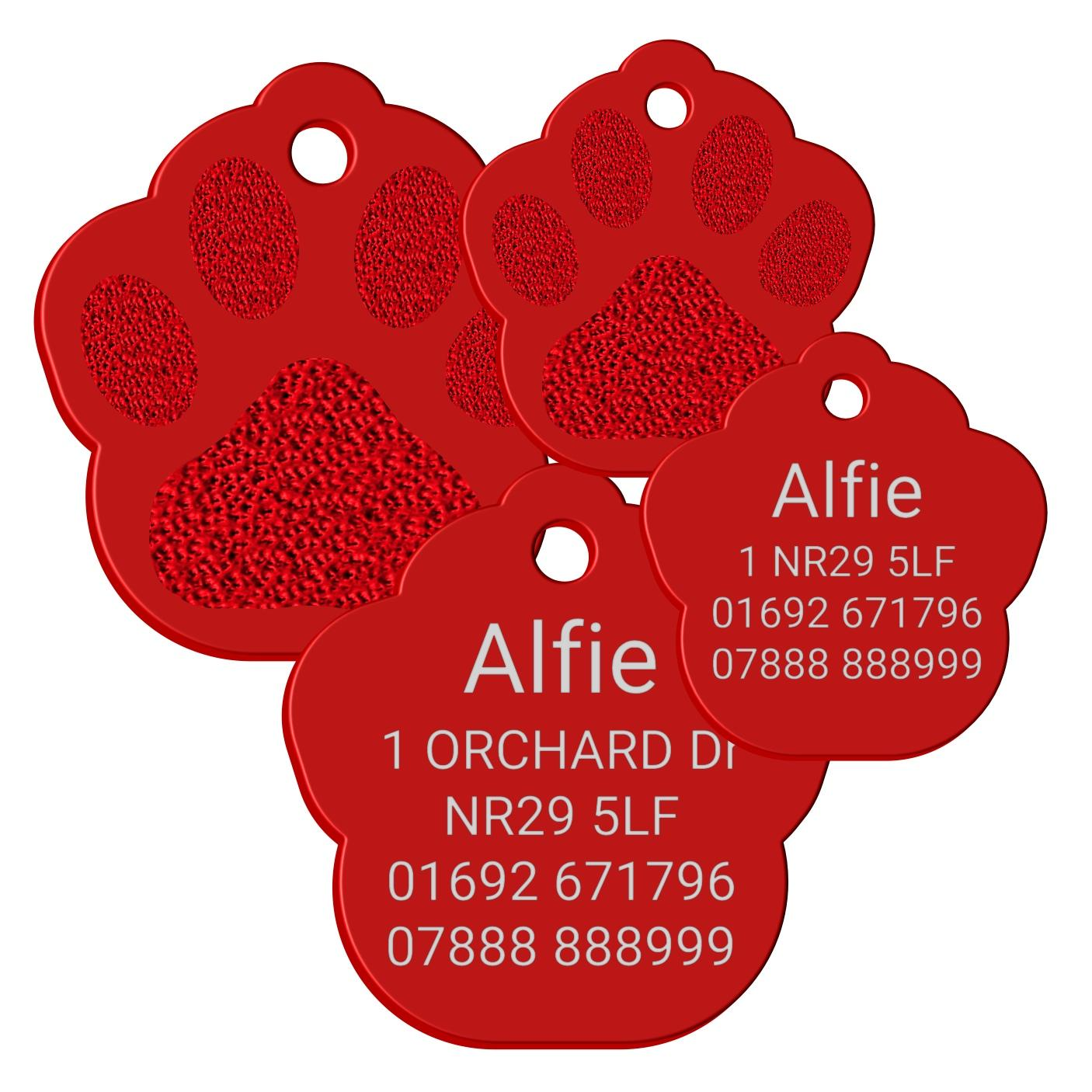red pet tag paw print