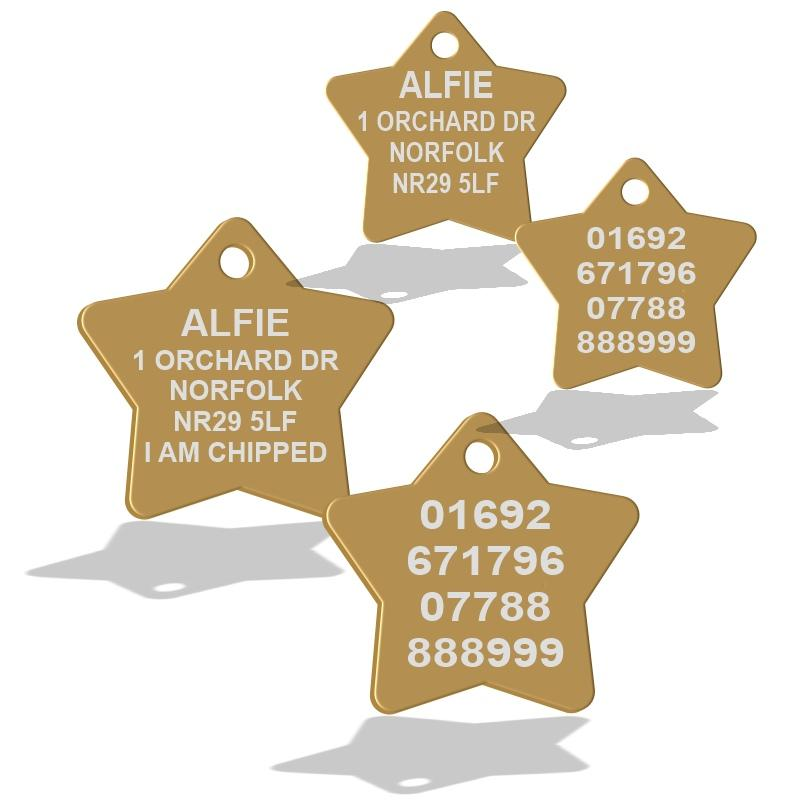 Gold Star Shape Dog Id Tags For Pets
