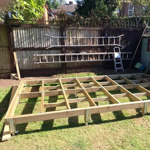 "Mr M.R - Hertfordshire - 5m x 3m Log Cabin base using our 650mm Ground Screws, Joist Seat & Bracket Kits for joist size: 6""x2"" or 8""x2"""
