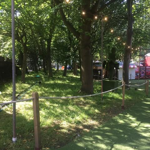 Assembly Festival - Edinburgh Fringe June 2017 - Ground Screws with nylon inserts - Festoon lighting Edinburgh Festival