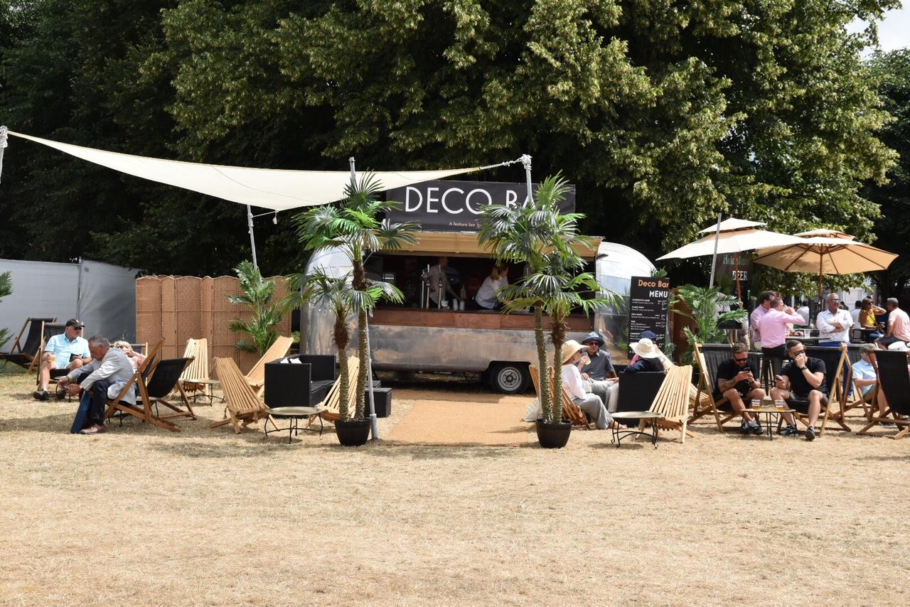 Our 650mm Ground screws with nylon inserts being used TO support the shade sails FOR the Deco Bar at Goodwood Festival of Speed JULY 2018. S Goodall Deco Noir Events