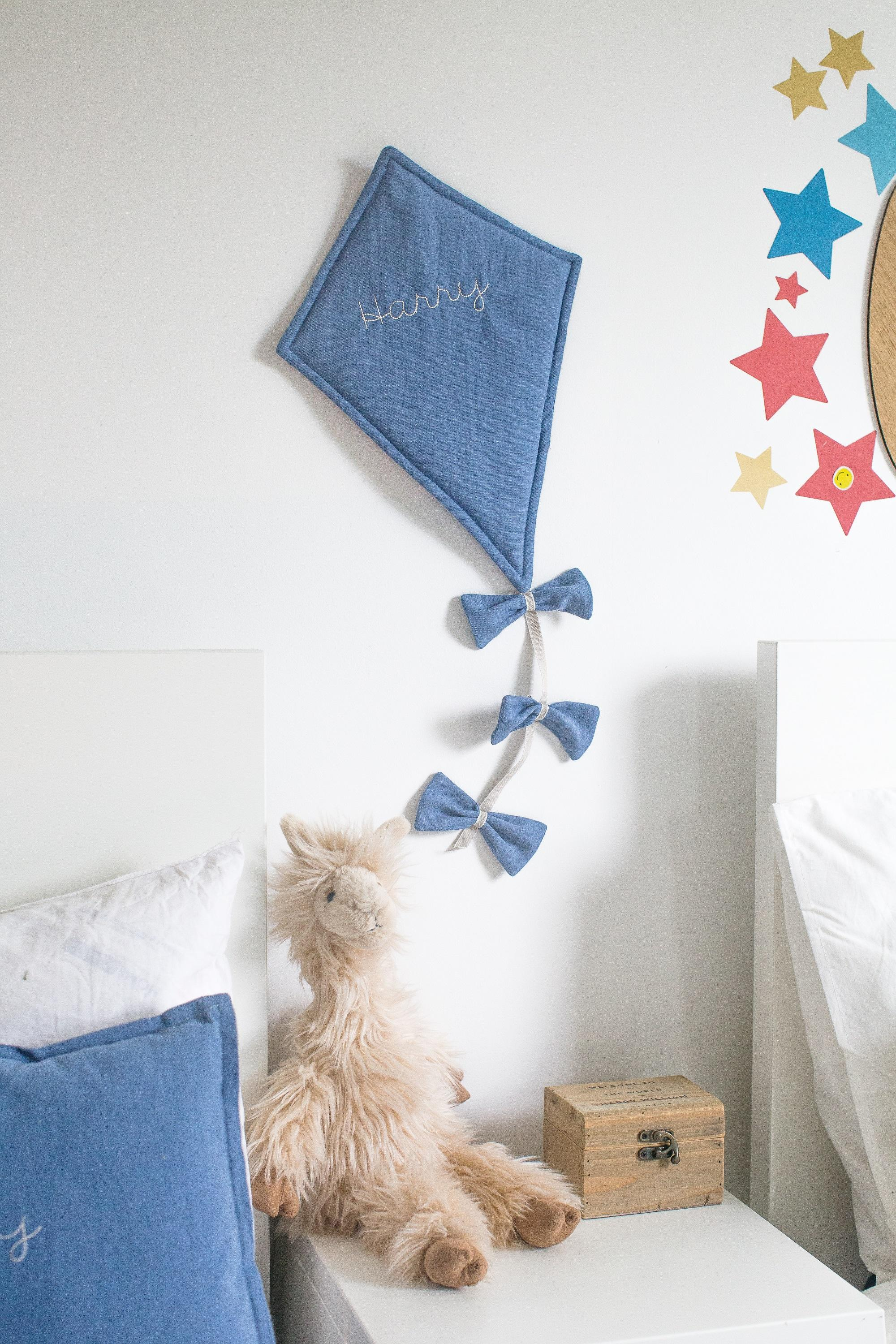 personalised linen kite wall hanging