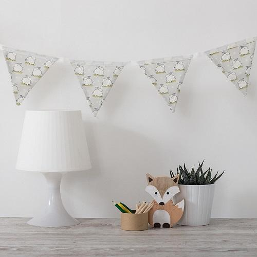 nursery bunting white linen with bunny print