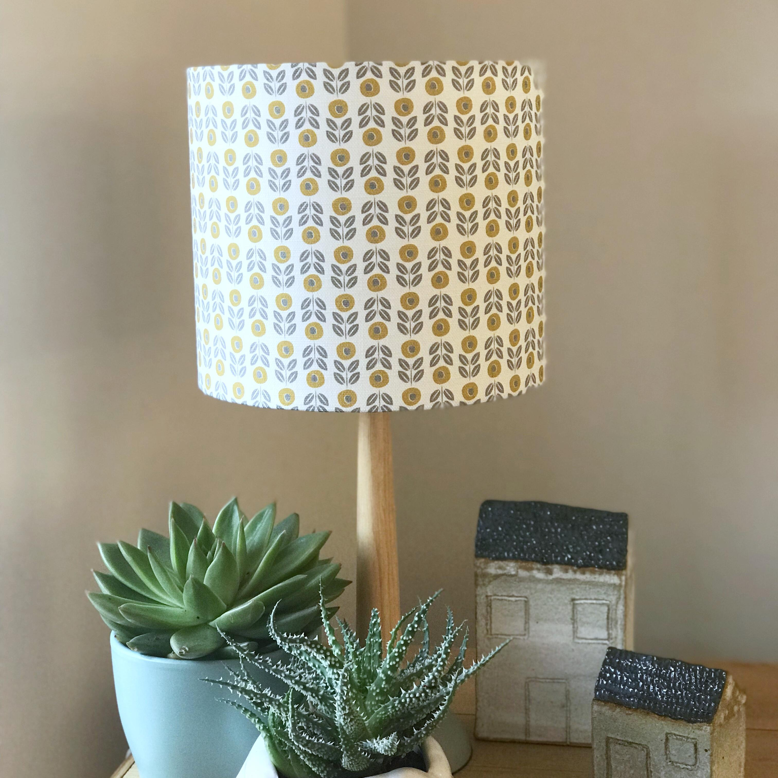mustard and grey lampshade