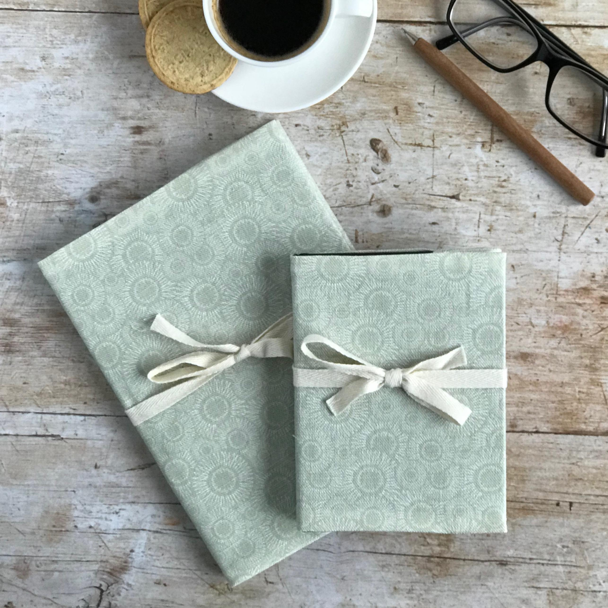 sage green linen note book