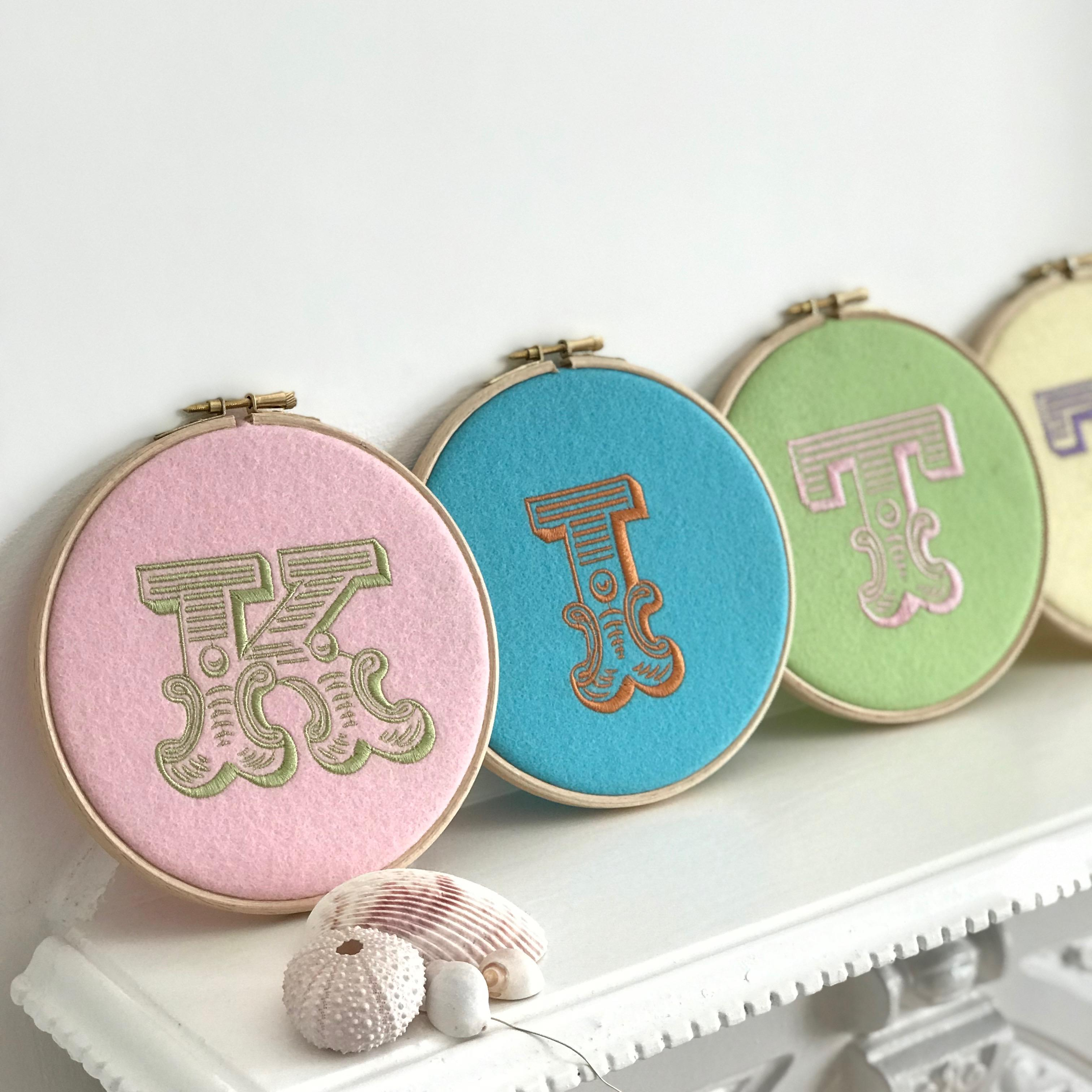 embroidered felt hoop