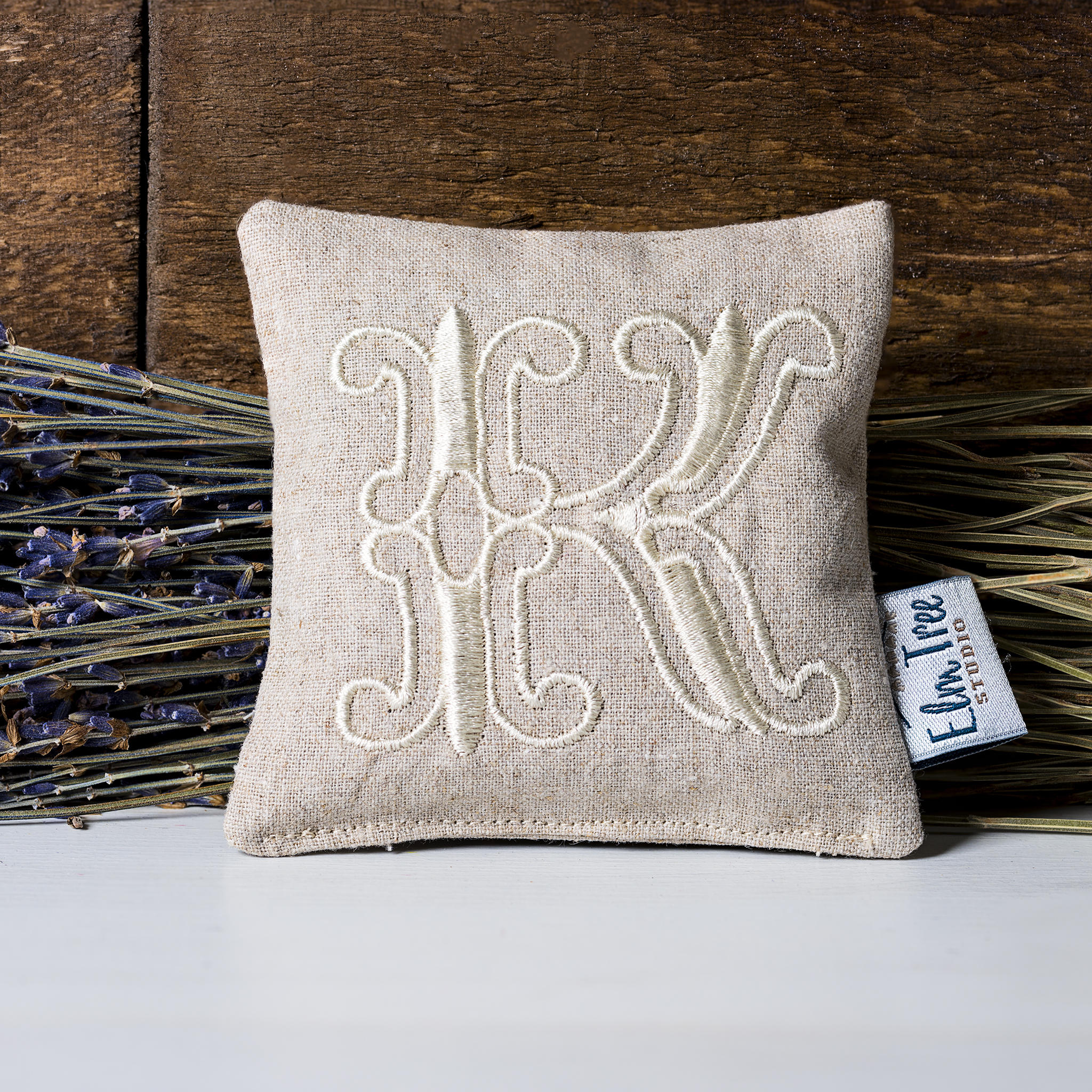 Natural linen lavender pillow with monogrammed embroidery