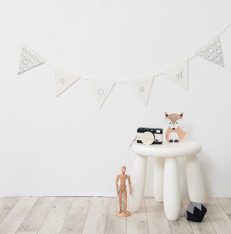white personalised bunting