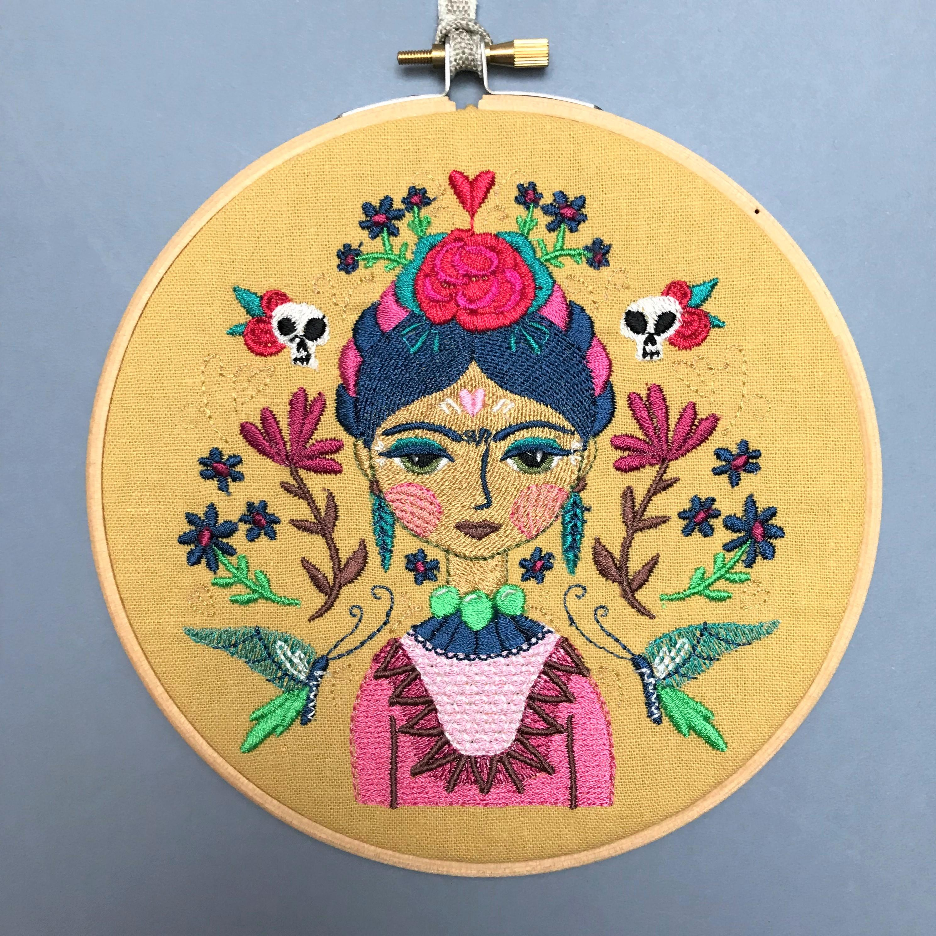 Frida Kahlo embroidered hoop mustard
