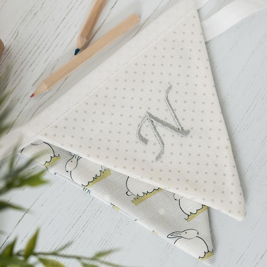 embroidered nursery bunting