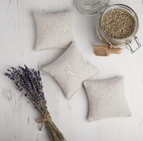 Sleep, Rest and Relax set of three embroidered lavender pillows