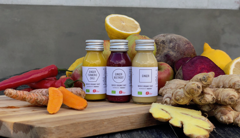 NEW NORDIC ORGANIC COLDPRESSED GINGER SHOTS WITH AMBIENT SHELF LIFE