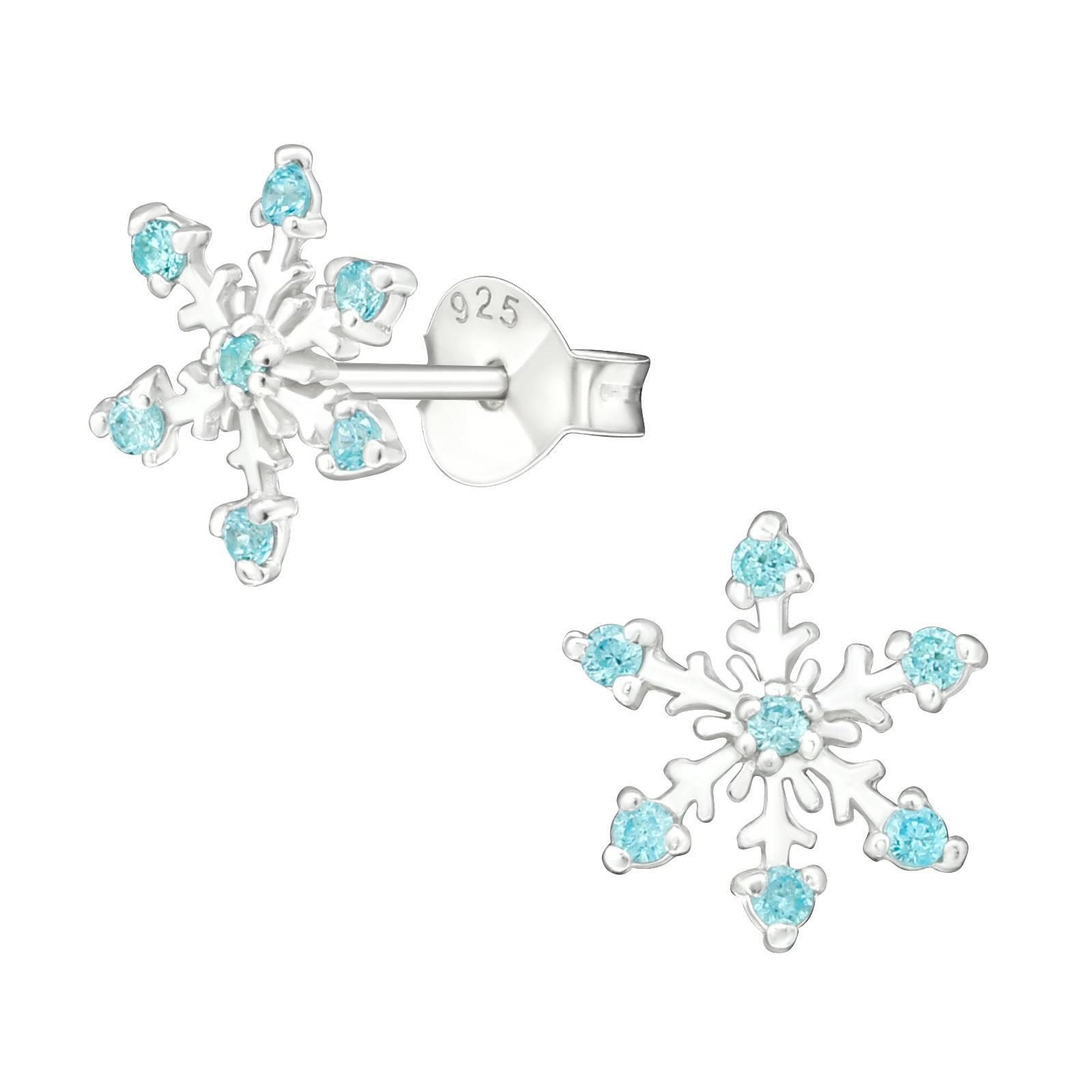 sterling & CZ snowflake stud earrings